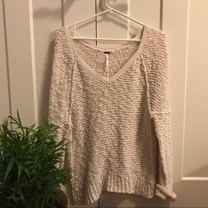 Free People White Songbird Pullover Sweater